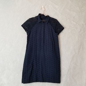 J. Crew Navy Eyelet Shift Shirt Short Sleeve Dress